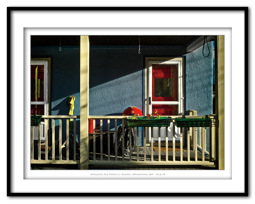 Appleton Ave Porch at Sunset, Watertown, MA - 12.2.16 - Framed.jpg