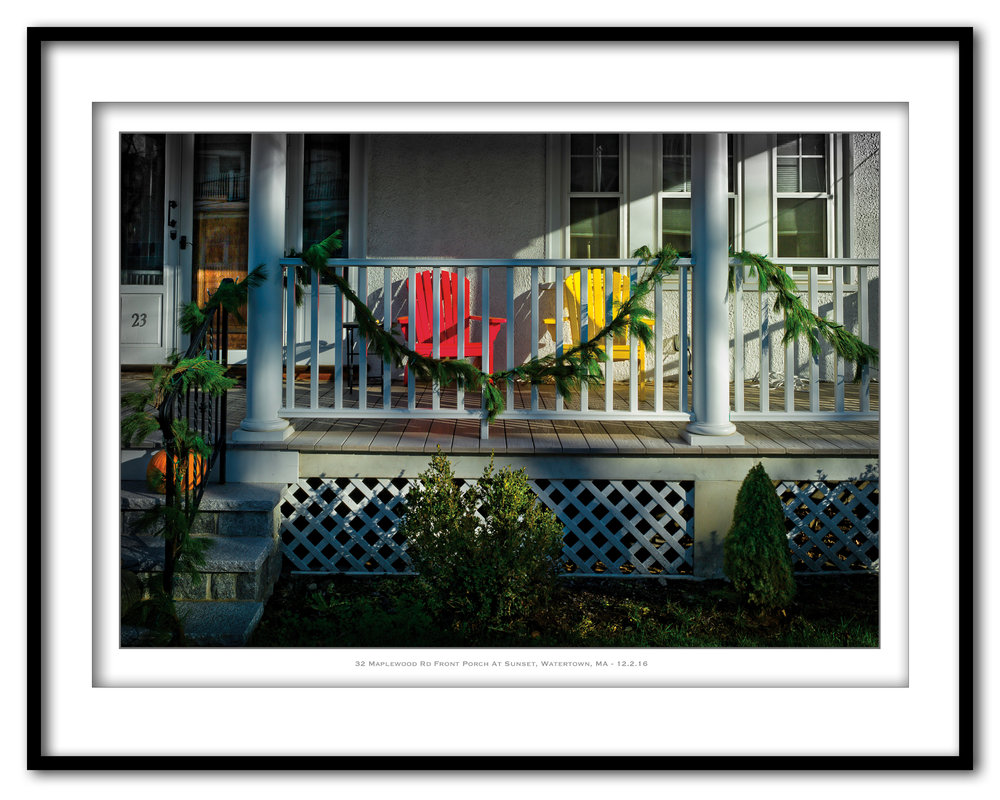 32 Maplewood Rd Front Porch At Sunset, Watertown, M - 12.2.116 - Framed.jpg