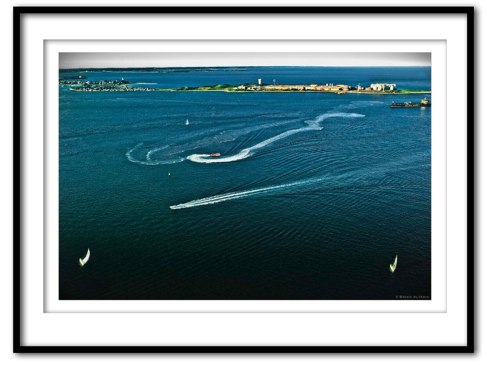 Landing over Boston Harbor - 8.13.17- Framed - Framed.jpg