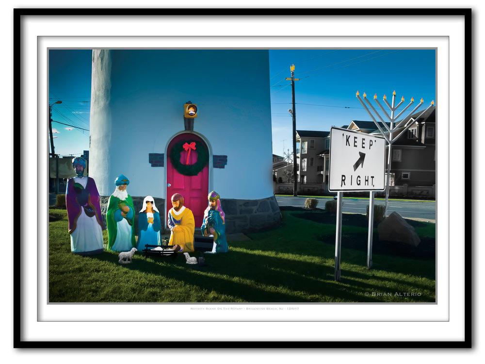 Nativity Scene On The Rotary - Brigantine Beach, NJ - 12-5-17 - Framed.jpg
