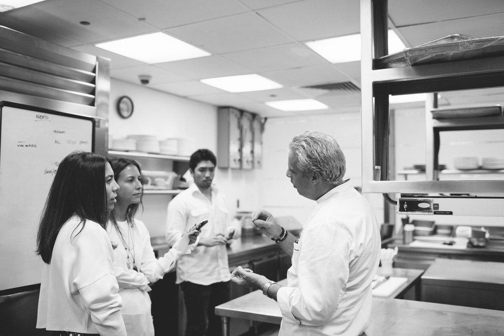 Nicole & Vanessa of Bonberiinterviewing Chef Eric Ripert in Le Bernardin. NYC, 2014