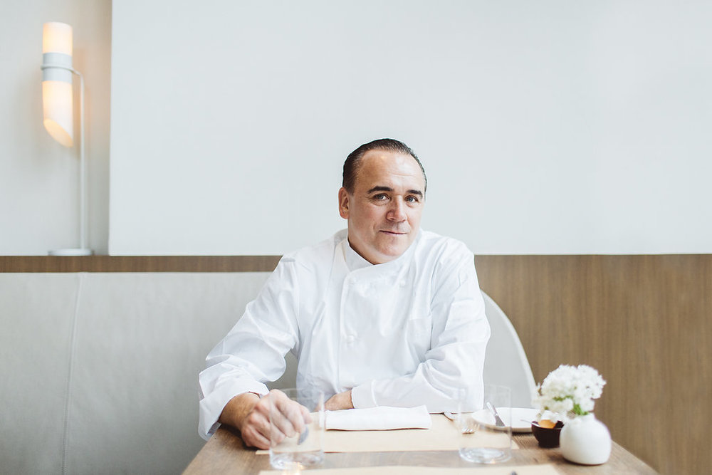 Chef Jean-Georges Vongerichten in his NYC restaurant, Jean Georges. 2015
