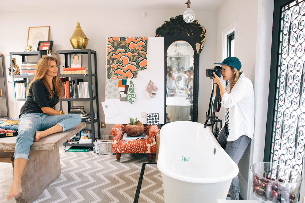BTS on my shoot with designer  Genevieve Gorder  . photo creed: Lauren Crew.