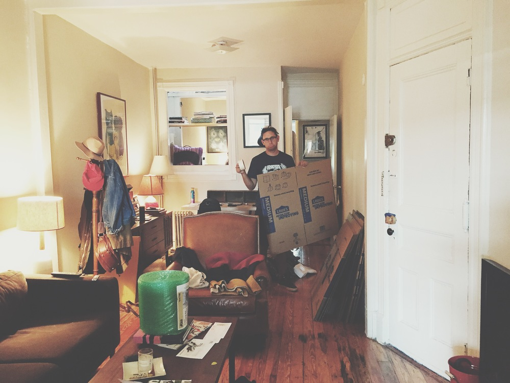 Dan packing our Brooklyn apt