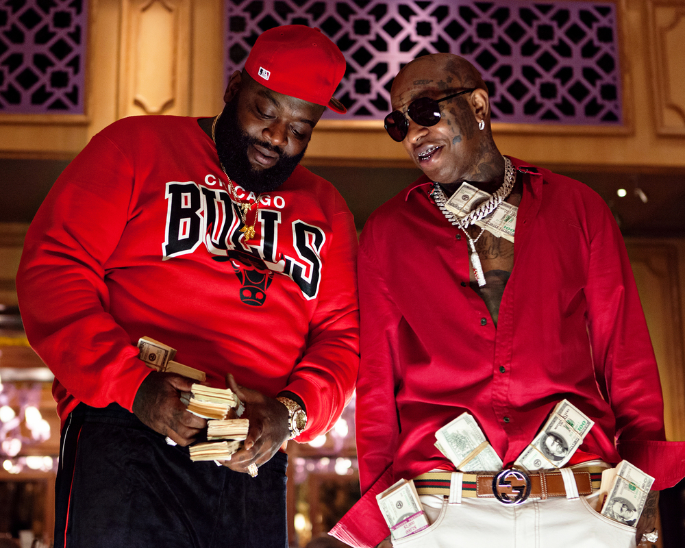 "Rick Ross and Birdman on set of ""50 Plates"""