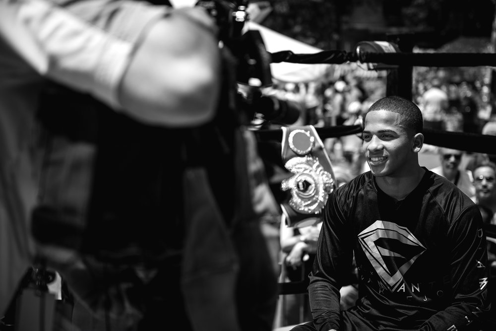"Felix "" El Diamante "" Verdejo at the Bronx Cultural Arts Festival in New York on Saturday May 30th 2015 promotes  his next fight against Ivan Najera (not shown) at the Madison Square Garden Theater on Saturday June 13, 2015."