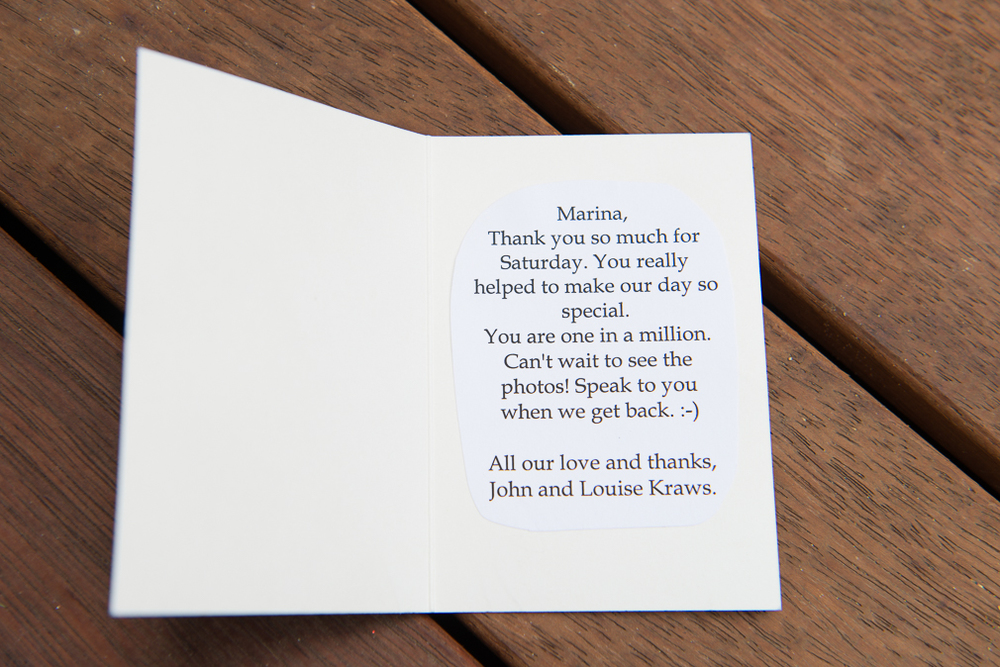 "John & Louise  ""thank you so much for Saturday, You really helped make our day special. You are one a million!"""