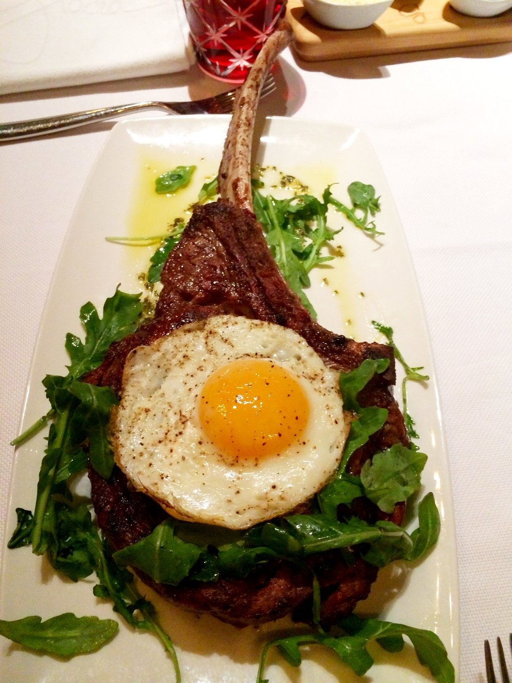 28 ounce Bone in Tuscan Rib Eye, totally just drooled on myself (again)... It is finished with lemon and a fried sunny side up egg! Anything with an egg on top, I'm sold! THIS was my FAVORITE dish! And I will be back for this! Nom Nom.