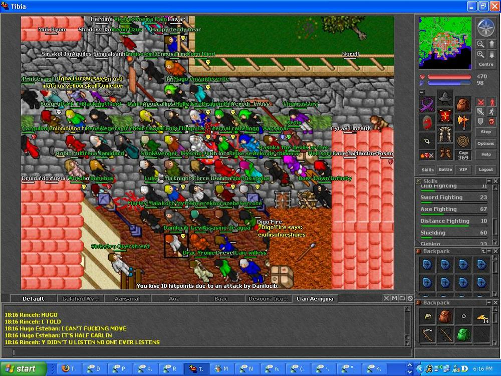 In which I managed to escape the clutches of an unruly mob in Carlin. Also pictured: AIM, and multiple MSN windows open.