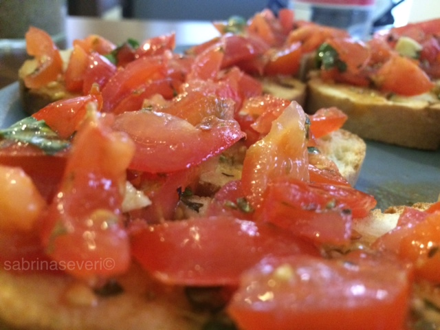 "Tomato and basil ""bruschetta"""