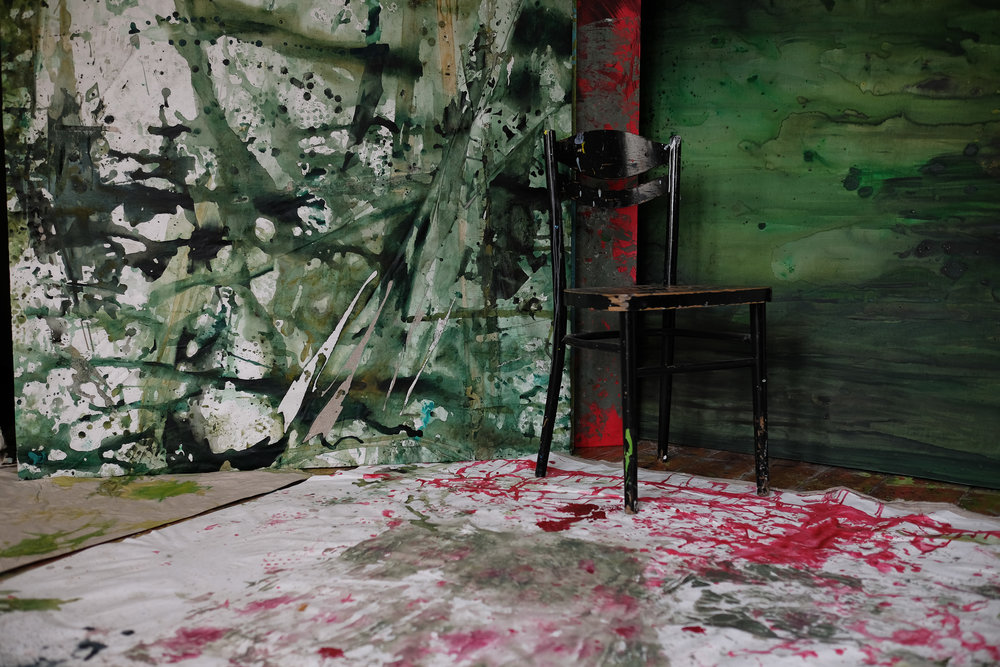 The dropcloth on the floor of Agnieszka Zawisza's studio is likely to wind up as the artist's next canvas.