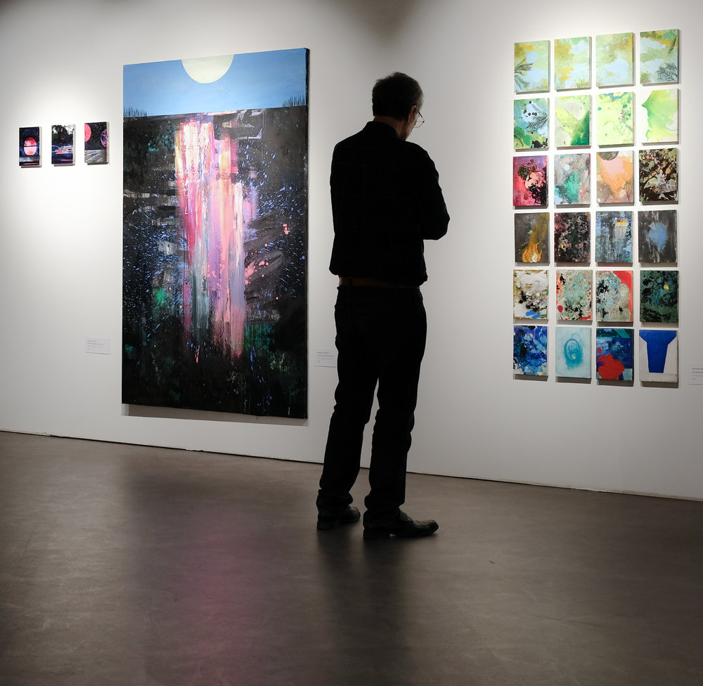 Paintings by Agnieszka Zawisza on display at Warsaw's Tymczasowa in April, 2018, as part of the show  Ekspresja, Kolor, Forma  curated by gallery director Joanna Pongowska.
