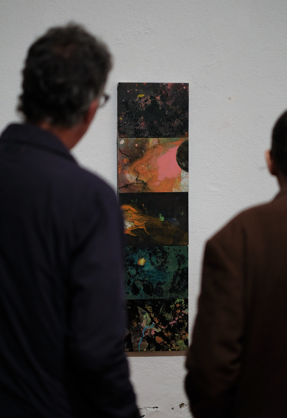 A quintet of miniatures by Agnieszka Zawisza commands attention during the 2018/11/03 opening of  Black on White  at Lisbon's Galeria Monumental.