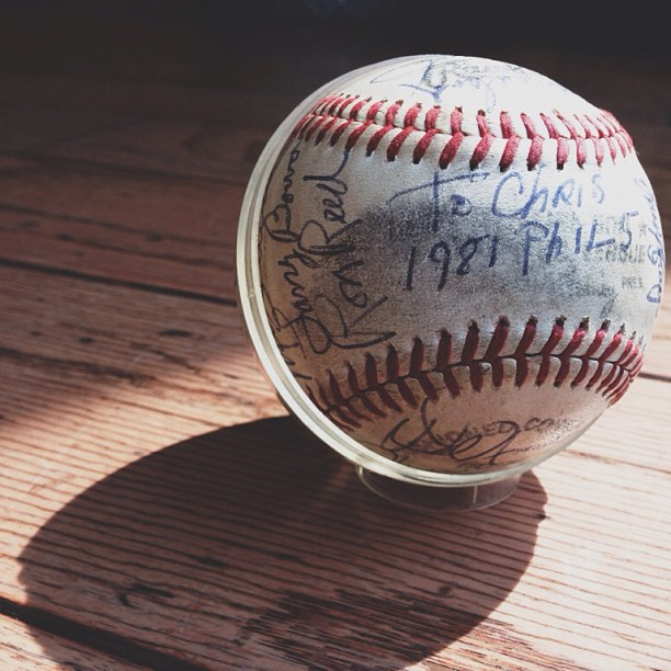 Still one of my top 3 possessions - '81 #phillies signed game ball. Now get your heads out of your asses and win!!!