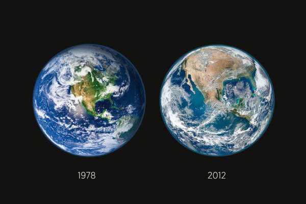 jellybeanjeunet :      sleezysays :        NASA recently released imagery showing the deforestation of America    …in just 34 years.      We are killing the Earth     Forever reblog.