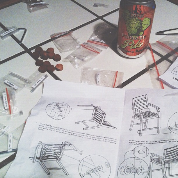 Nothing helps better than beer in cans when assembling outdoor furniture.  (Taken with  Instagram )