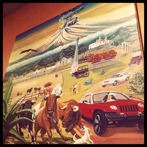 The scenes going on in this painting are freakin epic! #mexican restaurant #art (Taken with instagram)