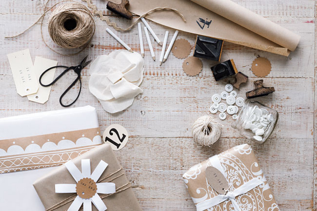ETHICAL GIFT GUIDE: WRAPPING  Use items you have around like kraft paper, ribbon, stamps, buttons, and twine via  Homelife .
