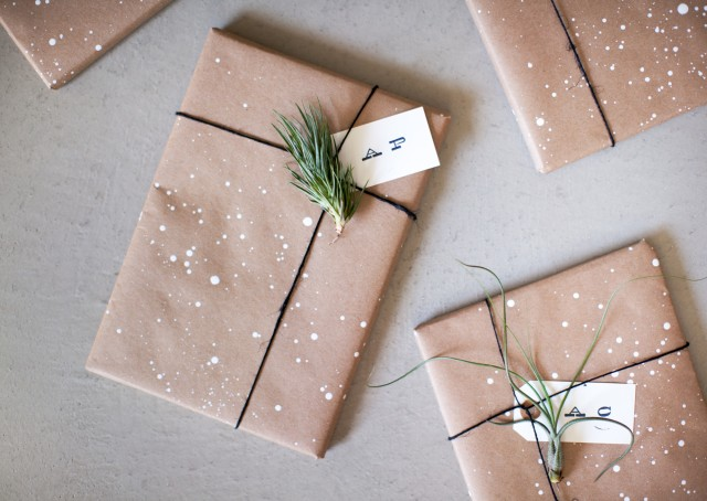 ETHICAL GIFT GUIDE: WRAPPING   No time to order gift wrap? Make your own spatter paint paper with this  Go Forth  tutorial.