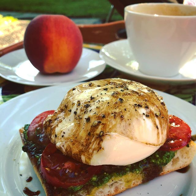 when you are missing Italy, you make yourself this Italian inspired breakfast #takemebacktoitaly🇮🇹 #alfrescobreakfast #dreamingofitaly #grilledciabatta #pesto #tomatoes #burrata #oliveoil #saltandpepper #agedbalsamic #inspiredby @burratagram #lifeincornhill