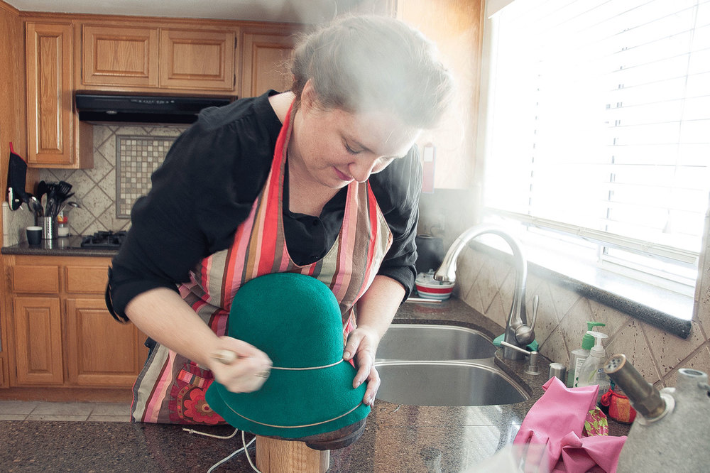 I spent the day with Madesmith, making hats for their Interview on Una Hats. Photo credit: Erin Fox