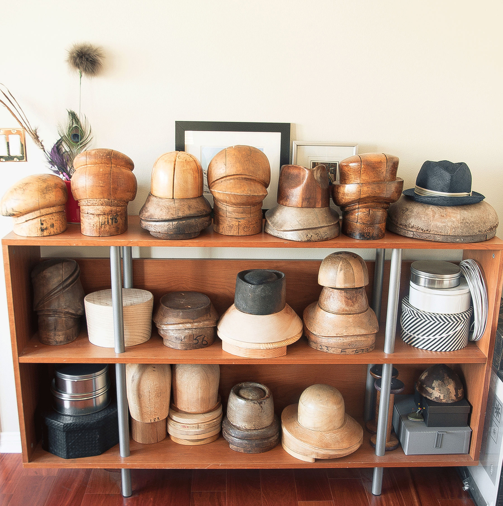 A peek at some of my hat blocks from Madesmith Interview with Una Hats. Photo credit: Erin Fox