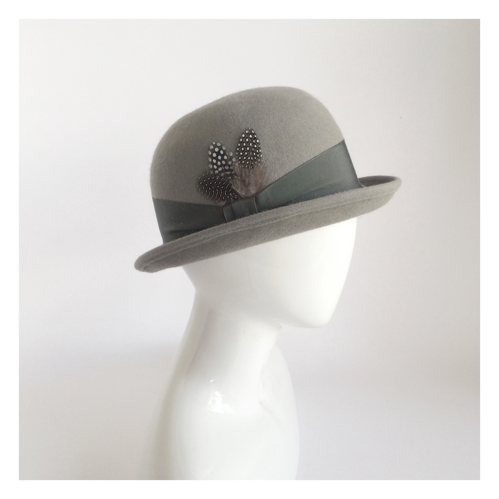 Grey Bowler Derby Hat | Una Hats