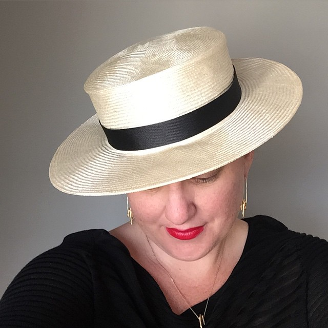 HAT TIP: Lipstick, a good #hat with nice shoes/sneaks and you can pull off anything in between. (Shhh….I'm wearing fancy sweatpants and it's all good)    Debuting this new #boaterHat style at @uniqueusa this #mothersday weekend   ______________________________________  #handmade #hatmaking #madeinla #uniquela #uniqueusa #thatsdarling #dapper #derbyday #bespoke #strawhat #summerhat #unahats #darling #darlingmovement #dapperday