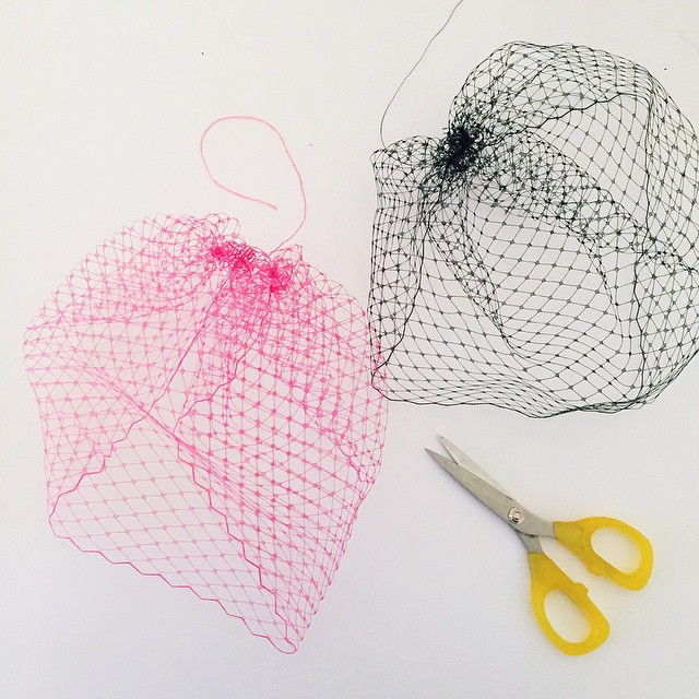 Making #veils    #workspace #workspacewednesday #pink #veiling #fascinator #hatmaking #millinery #makinghats #unahats