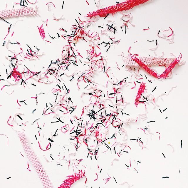 Trimmed straw = Pink Confetti    #pink #pinkconfetti #prettyinpink #makinghats #hatmaking #millinery #unahats #strawhat #workroom