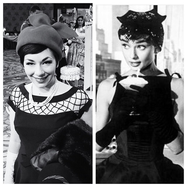 So very Audrey 💕 Hat on left by (me) #unahats ———————————————— #dapperday #dapperdayexpo #breakfastattiffanys #audreyhepburn #oldhollywood #holywoodglamour #blackandwhite #vintagestyle #handmade #bespoke #beret #style (at Dapper Day At Disneyland)