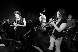 The Sam Boshnack Quintet with Samantha Boshnack (trumpet), Beth Fleenor (clarinets/voice), Dawn Clement (piano/keyboards), Isaac Castillo (upright bass), and Max Wood (drums).