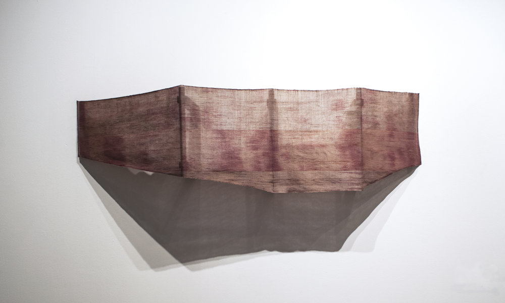 Banner-scape No. 2: Across from the Poulnabroune Dolmen  .  Hand-dyed, hand-woven cloth, 2013.