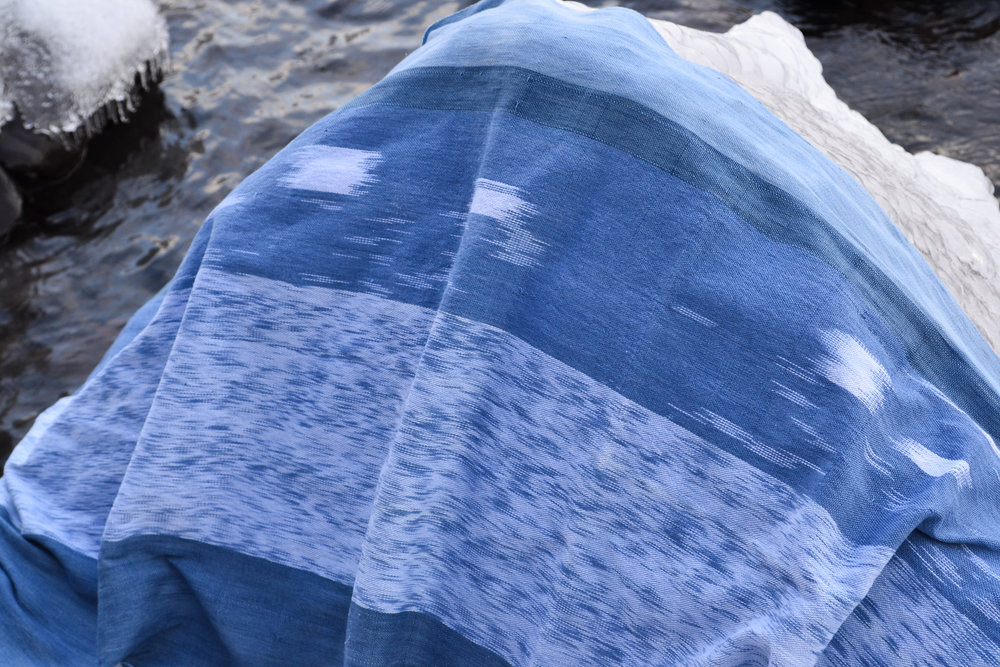 Banner-Scape No. 1: Lake Michigan, IL . Hand-woven, indigo dyed cloth with an ikat resist, 2012.
