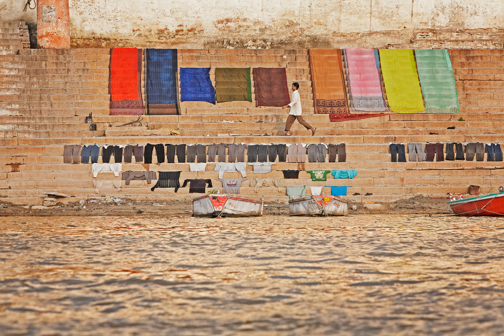 Washing drying on the ghats, Varanasi, India
