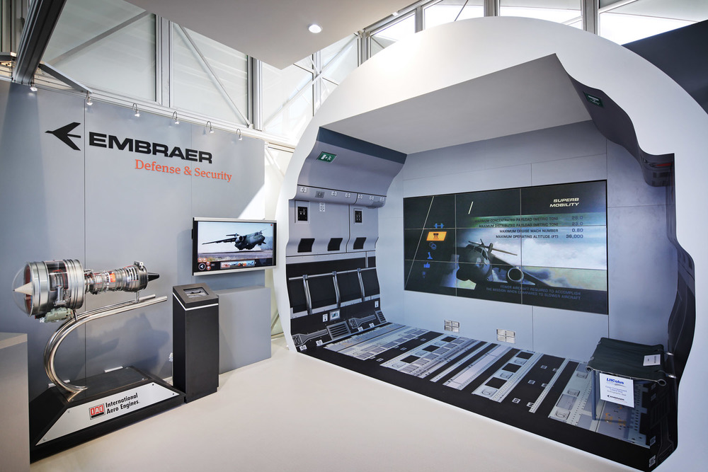 Embraer Defence stand, Farnborough Airshow, UK