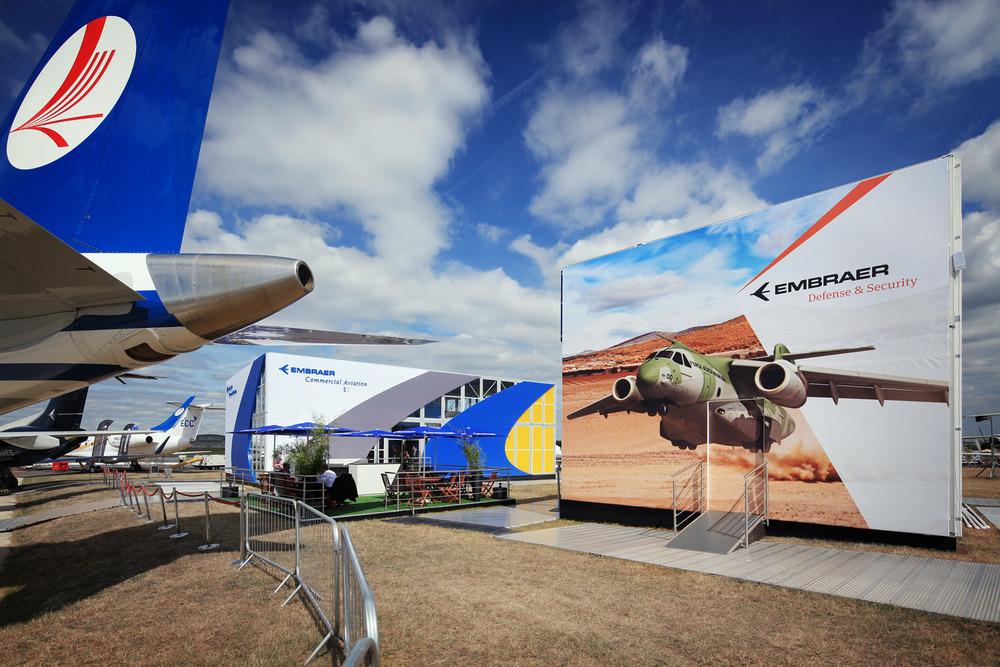 Embraer at the Farnborough Airshow, Farnborough, UK