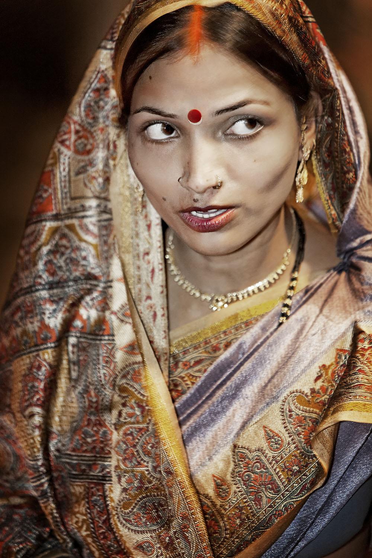 Woman wearing sari, Varanasi