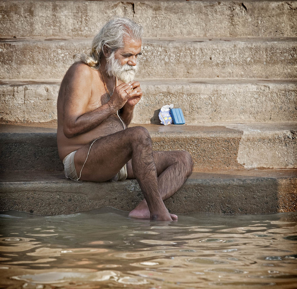 Morning contemplation, Varanasi, India