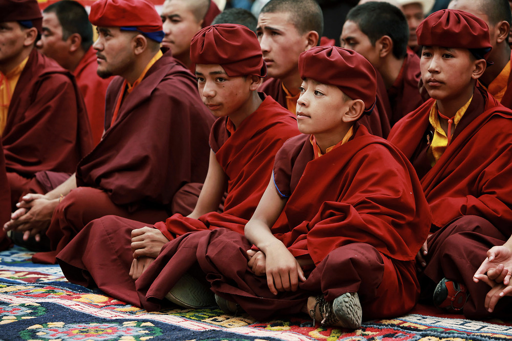 Young monks listening, Hemis Monastery
