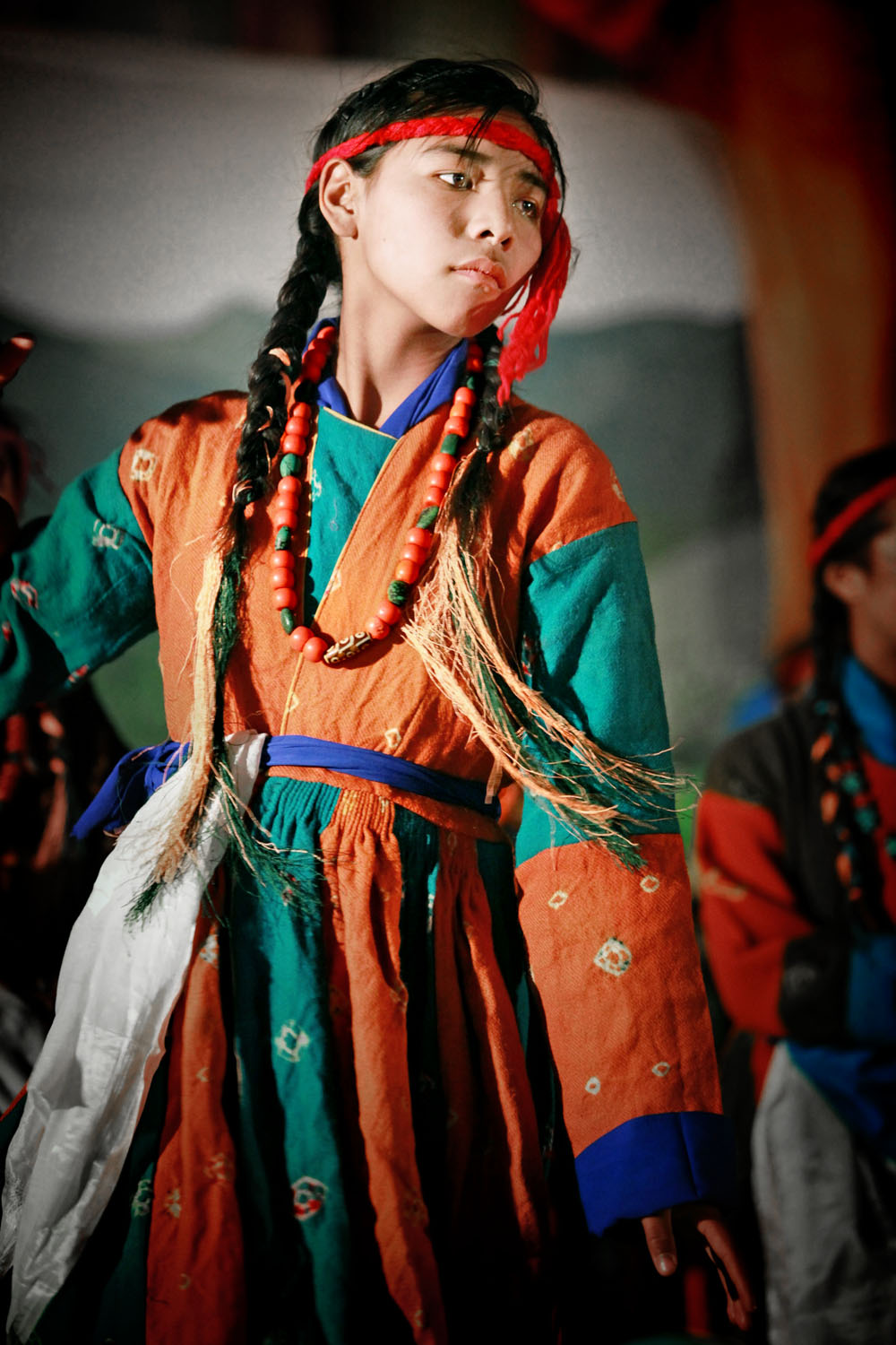 Pupil of Druk White Lotus school dancing, Shey, Ladakh