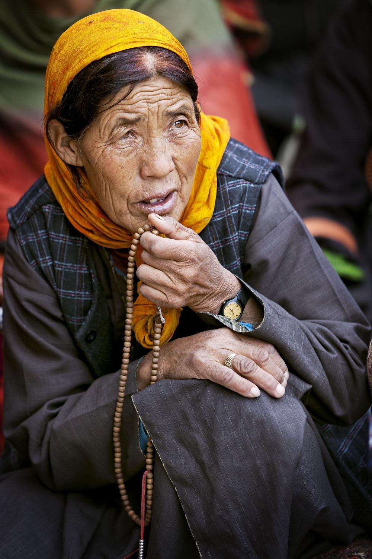 Woman listening to teaching, Hemis Monastery