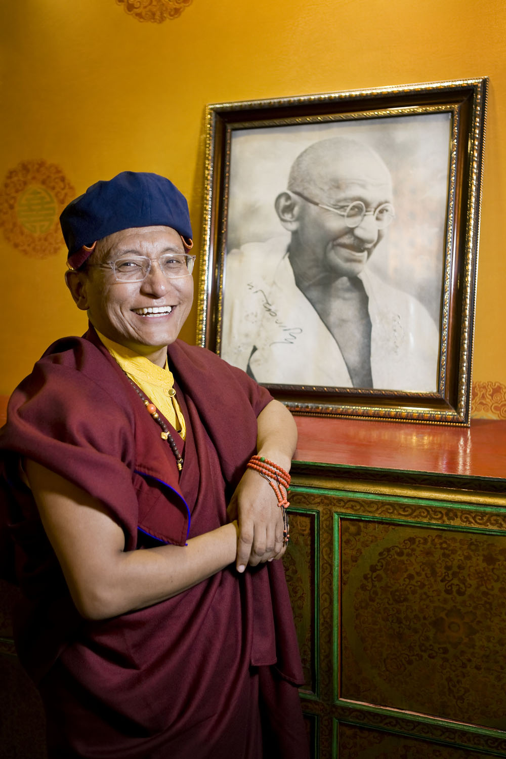 H.H. with signed photo of Gandhi, Hemis Monastery