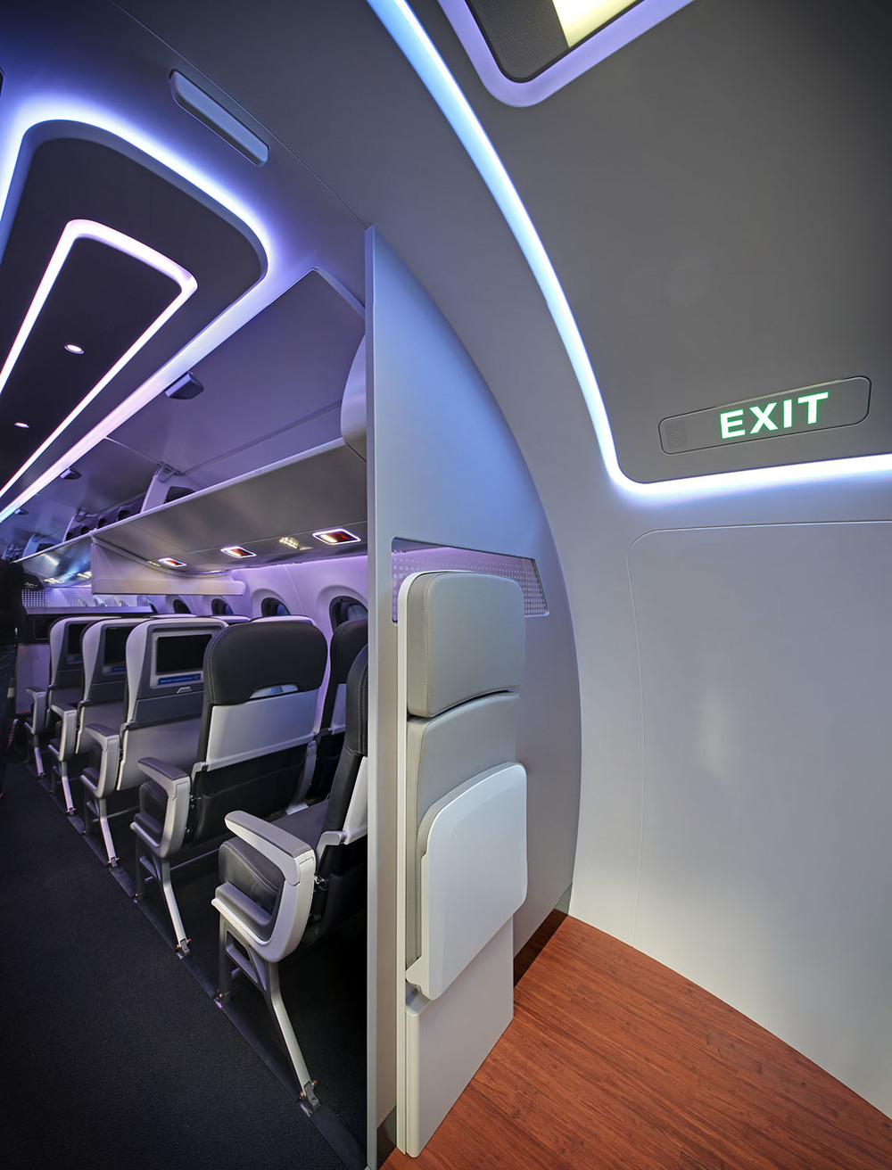 Inside Embraer E2 cabin mock-up, Farnborough Airshow, UK