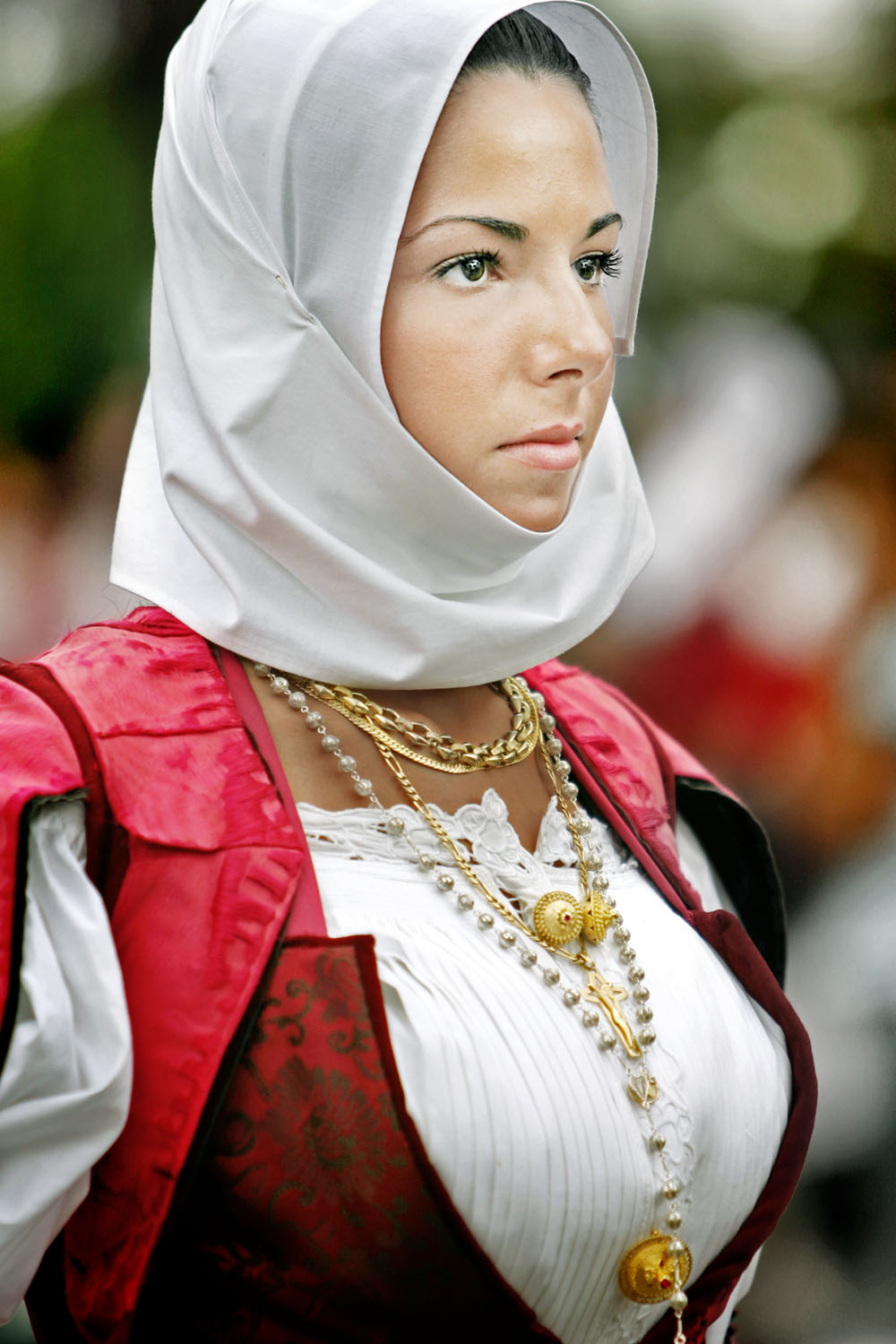 Traditionally Dressed Girl, Nuoro, Sardinia, Italy