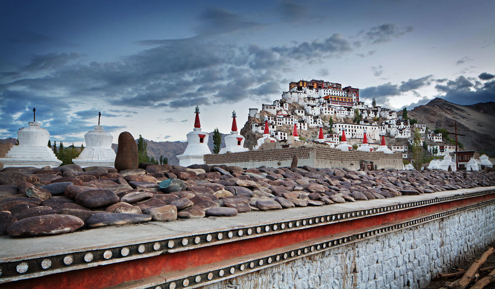 Mani wall & Thicksey Monastery, Ladakh, India