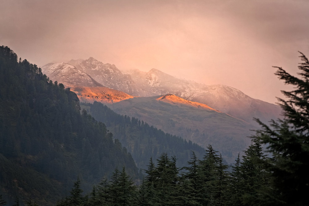 Sunset near Solang, Himachal Pradesh, India