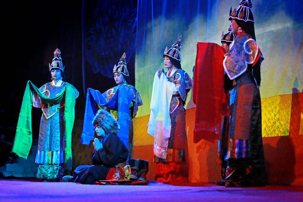 Theatrical performance by Drukpa nuns, Hemis Monastery
