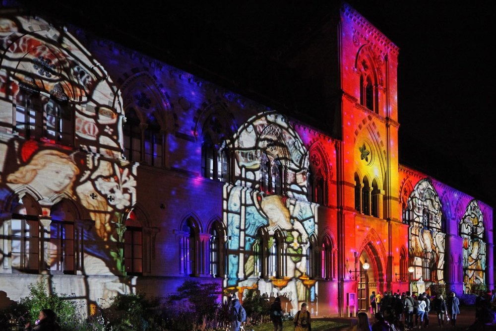 The Museum of Natural History building in Oxford lit up for the 2017 Night of Heritage Light.