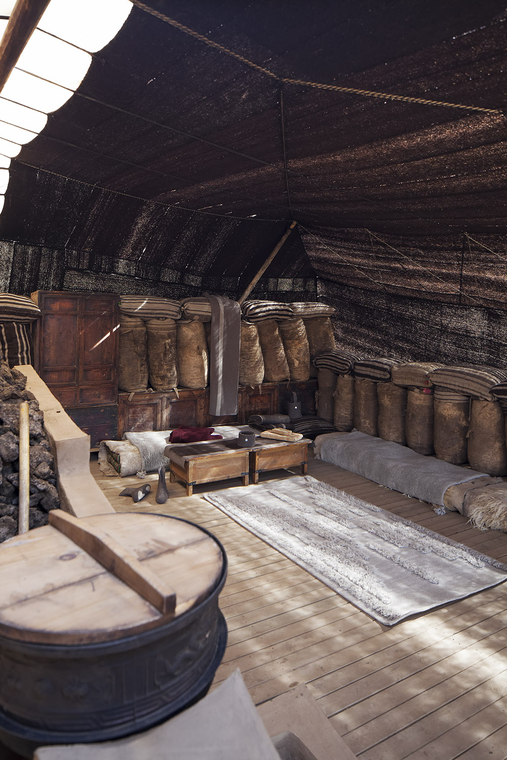 Traditional tent interior with Norlha soft furnishings, Lungta Cooperative, Amdo, Tibet